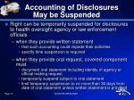 accounting of disclosures may be suspended