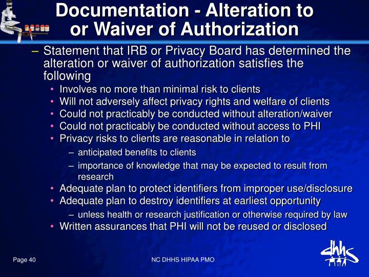 Documentation - Alteration to