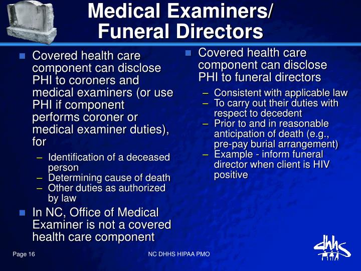 Covered health care component can disclose PHI to coroners and medical examiners (or use PHI if component performs coroner or medical examiner duties), for