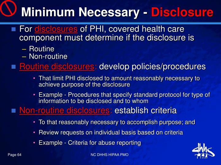 Minimum Necessary -