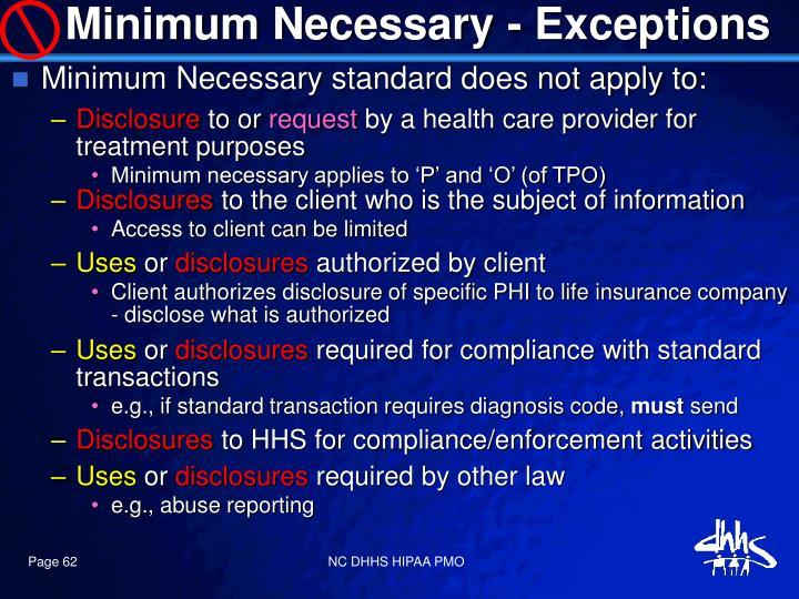 Minimum Necessary - Exceptions