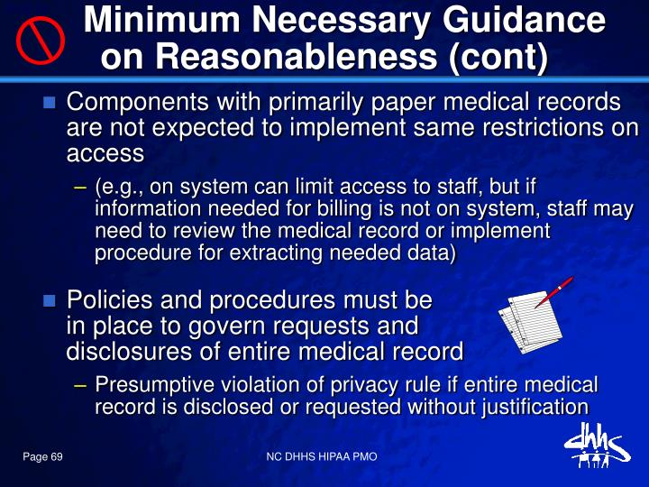 Minimum Necessary Guidance on Reasonableness (cont)