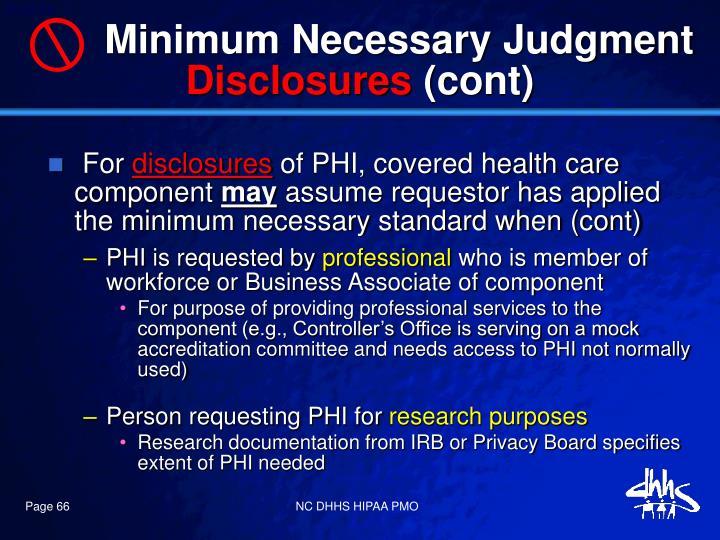 Minimum Necessary Judgment
