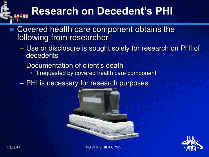 Research on Decedent's PHI