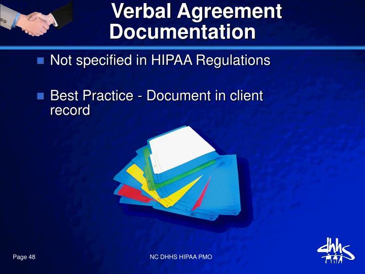 Verbal Agreement Documentation