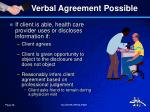 verbal agreement possible
