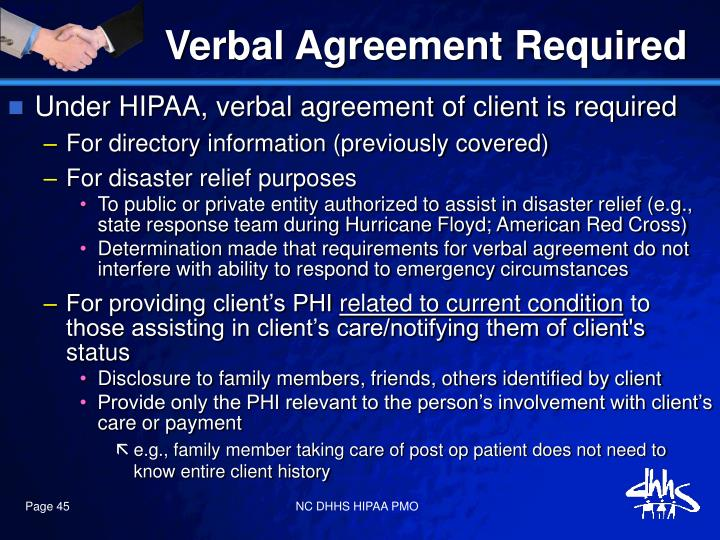 Verbal Agreement Required