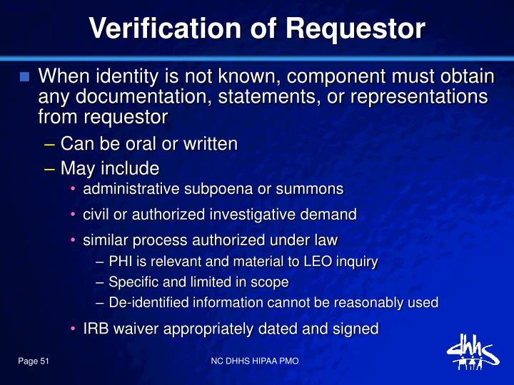 Verification of Requestor