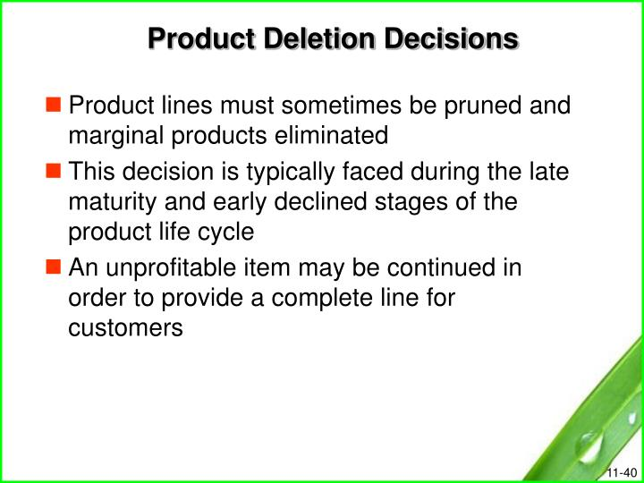 Product Deletion Decisions