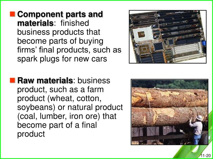 Component parts and materials