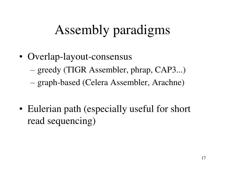 Assembly paradigms
