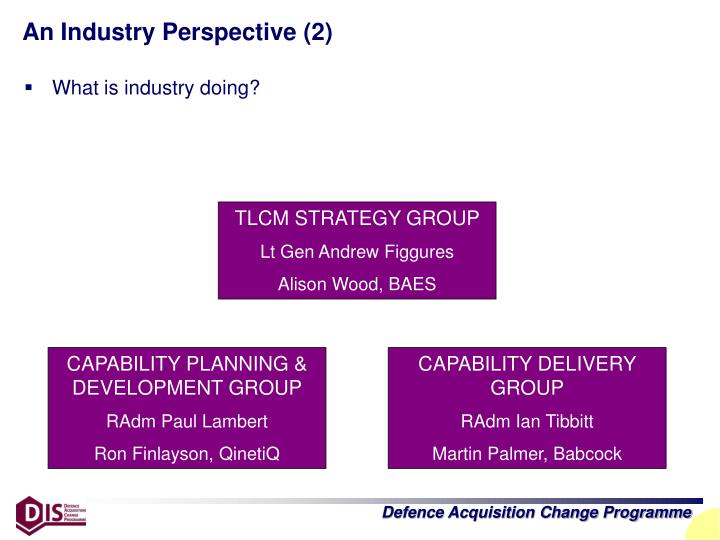 An Industry Perspective (2)