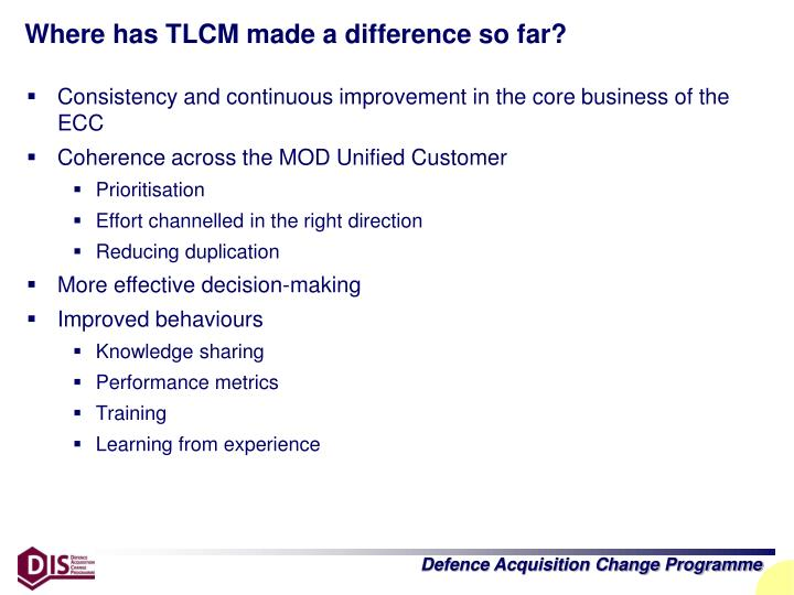 Where has TLCM made a difference so far?