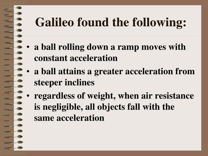 Galileo found the following: