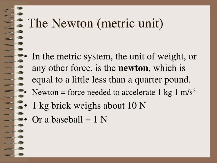 The Newton (metric unit)