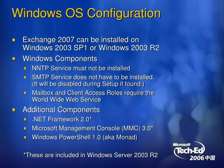 Windows OS Configuration
