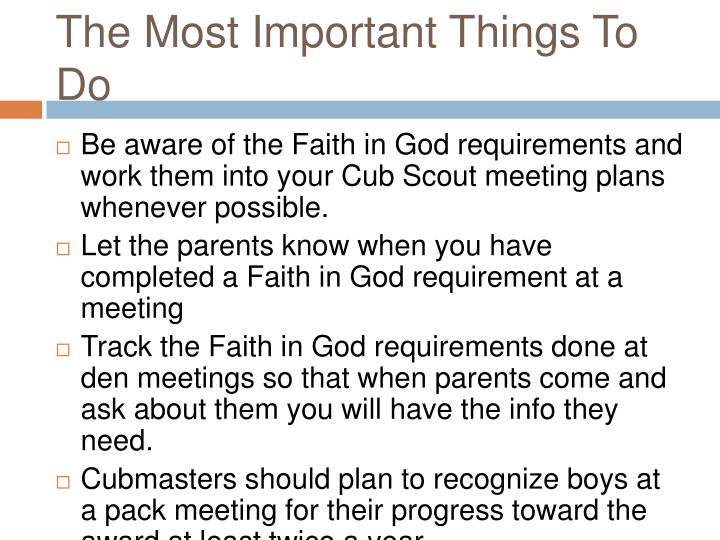 The Most Important Things To Do