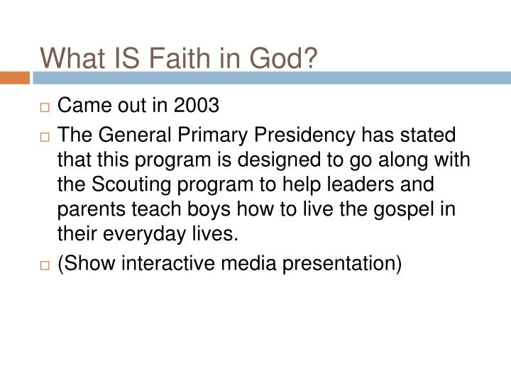 What IS Faith in God?