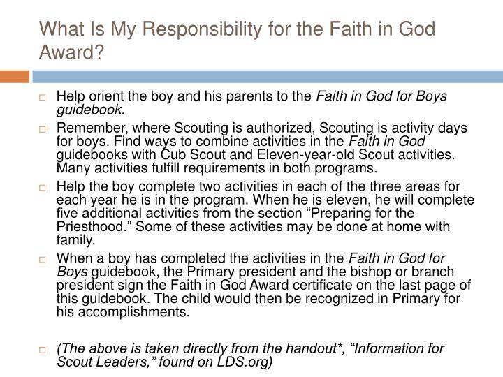 What Is My Responsibility for the Faith in God Award?