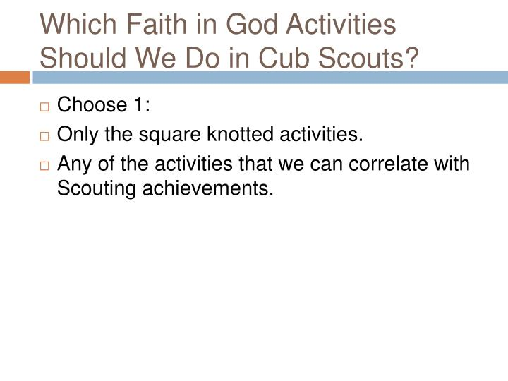 Which Faith in God Activities Should We Do in Cub Scouts?