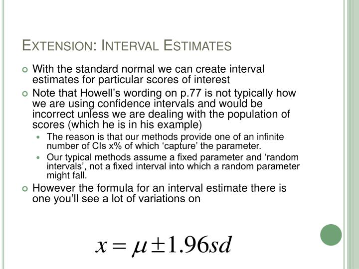 Extension: Interval Estimates