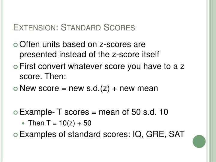 Extension: Standard Scores