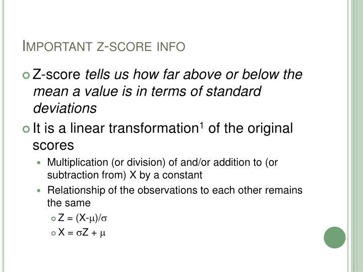 Important z-score info