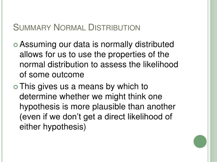 Summary Normal Distribution