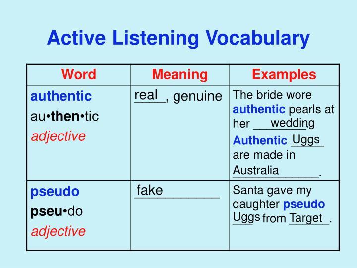 Active Listening Vocabulary