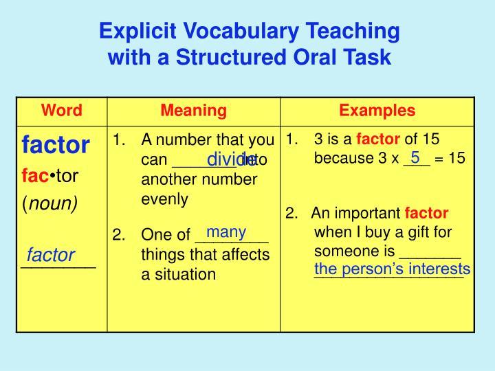 Explicit Vocabulary Teaching