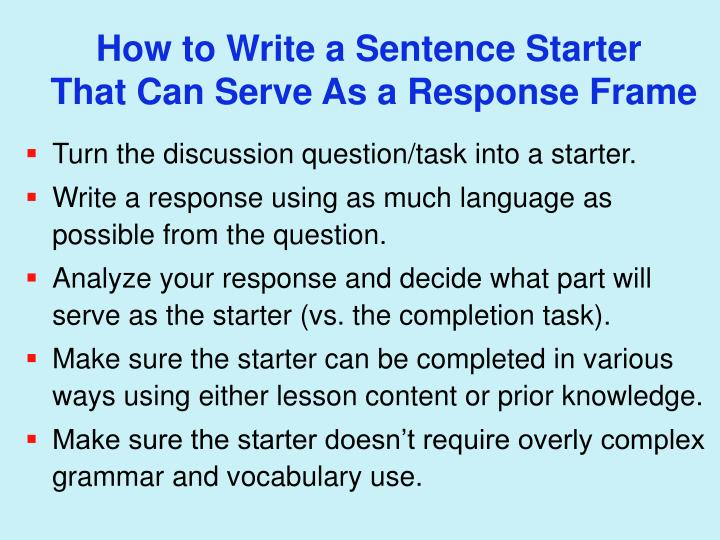 How to Write a Sentence Starter