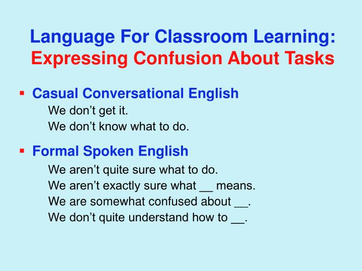 Language For Classroom Learning: