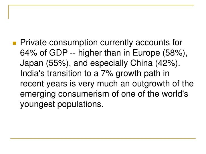 Private consumption currently accounts for 64% of GDP -- higher than in Europe (58%), Japan (55%), and especially China (42%). India's transition to a 7% growth path in recent years is very much an outgrowth of the emerging consumerism of one of the world's youngest populations.