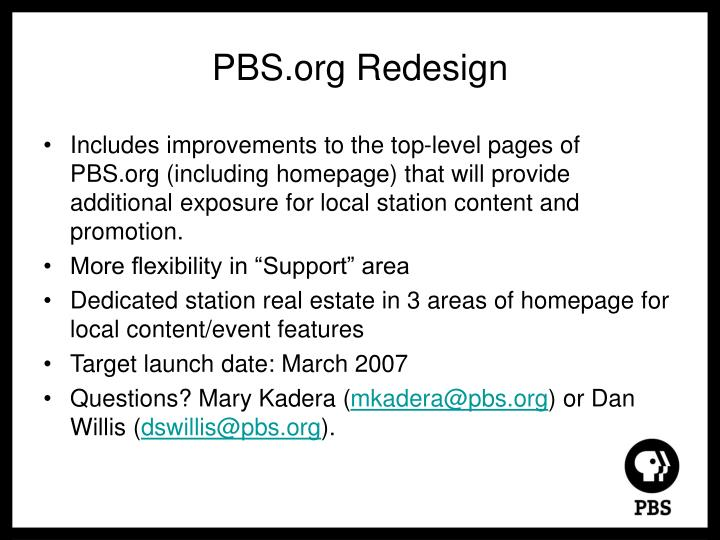PBS.org Redesign