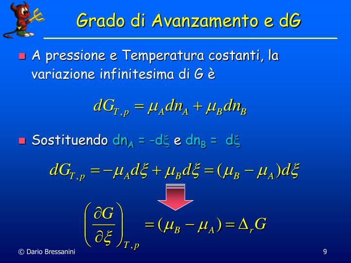 A pressione e Temperatura costanti, la variazione infinitesima di G è