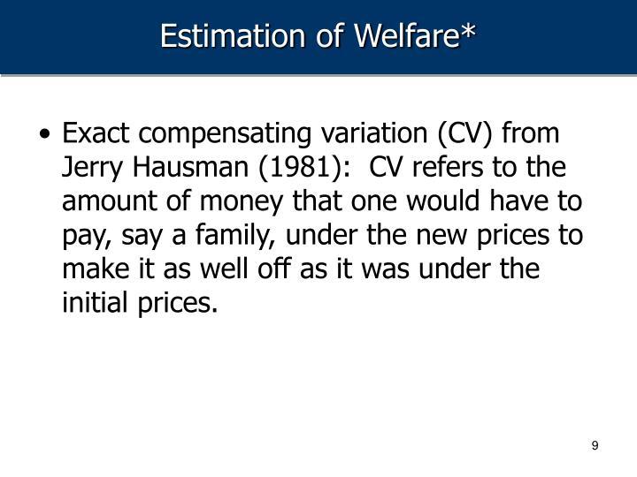 Estimation of Welfare*