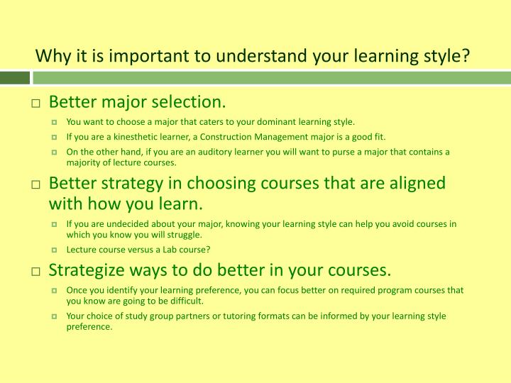 Why it is important to understand your learning style