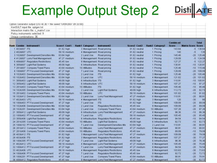 Example Output Step 2