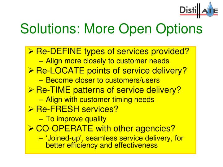 Solutions: More Open Options