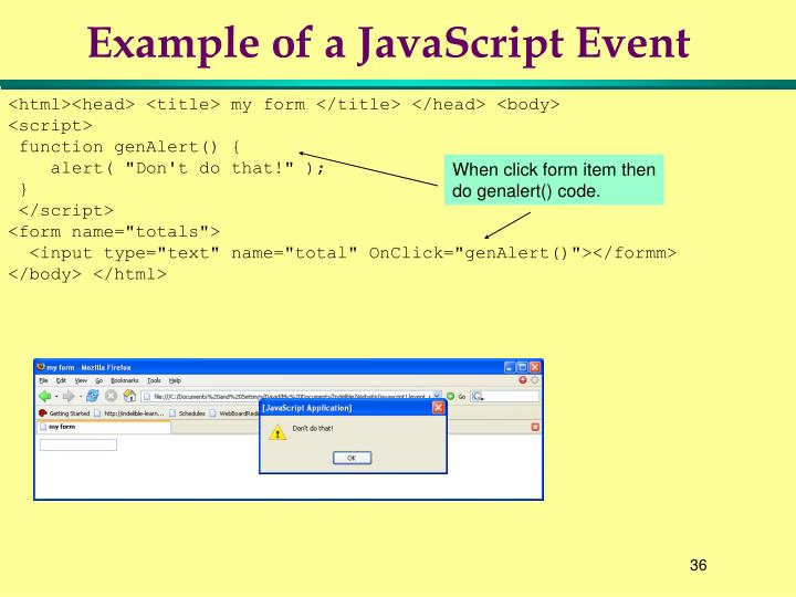 Example of a JavaScript Event