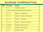 javascript conditional tests
