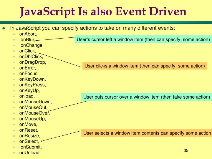 JavaScript Is also Event Driven