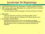 javascript its beginnings