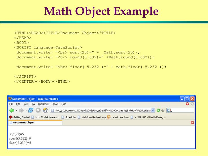 Math Object Example