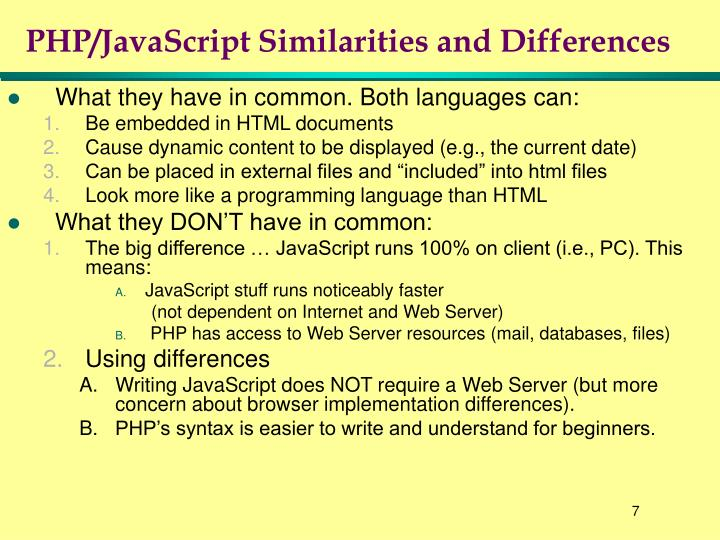 PHP/JavaScript Similarities and Differences