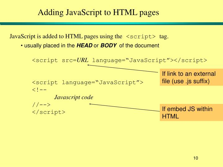 Adding JavaScript to HTML pages