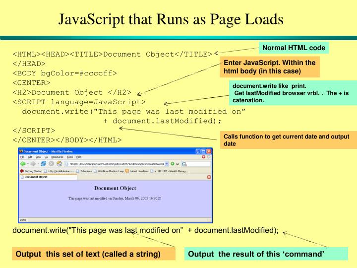 JavaScript that Runs as Page Loads