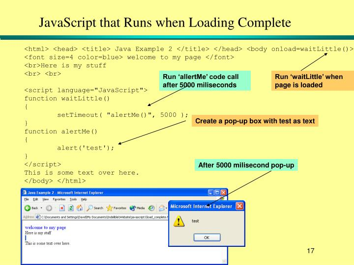 JavaScript that Runs when Loading Complete
