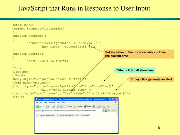 JavaScript that Runs in Response to User Input