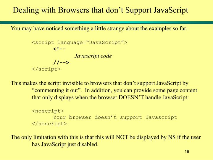 Dealing with Browsers that don't Support JavaScript